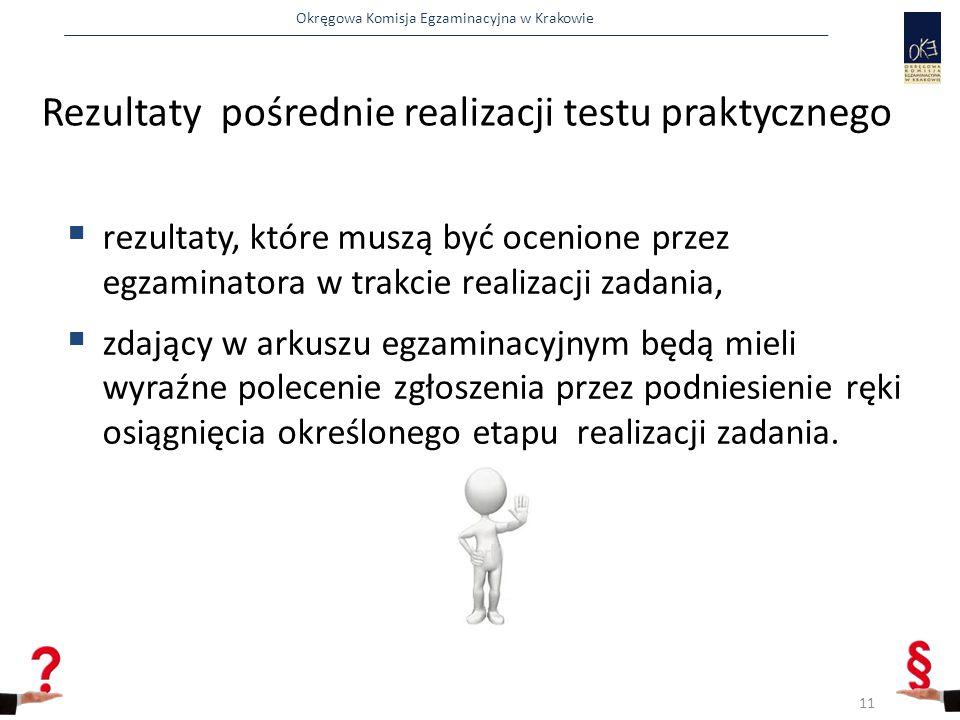 Rezultaty pośrednie realizacji testu praktycznego