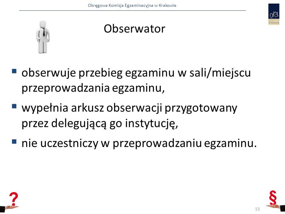 Obserwator obserwuje przebieg egzaminu w sali/miejscu przeprowadzania egzaminu,