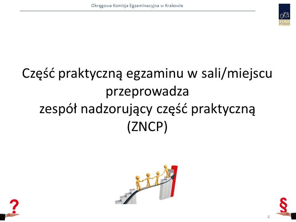 Część praktyczną egzaminu w sali/miejscu przeprowadza zespół nadzorujący część praktyczną (ZNCP)