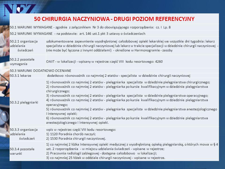 50 CHIRURGIA NACZYNIOWA - DRUGI POZIOM REFERENCYJNY