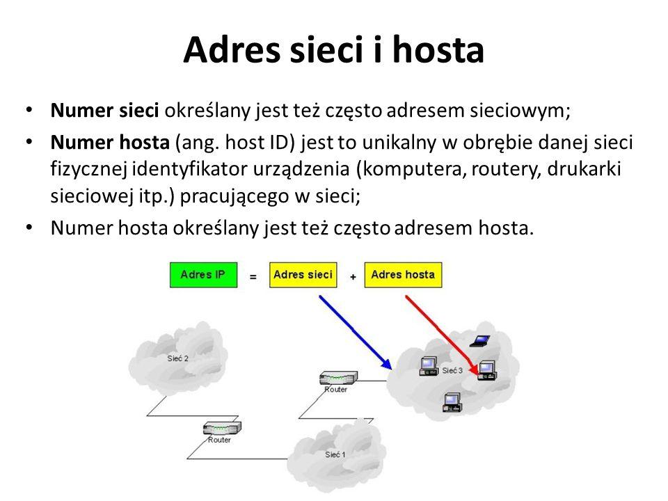Adres sieci i hosta Numer sieci określany jest też często adresem sieciowym;