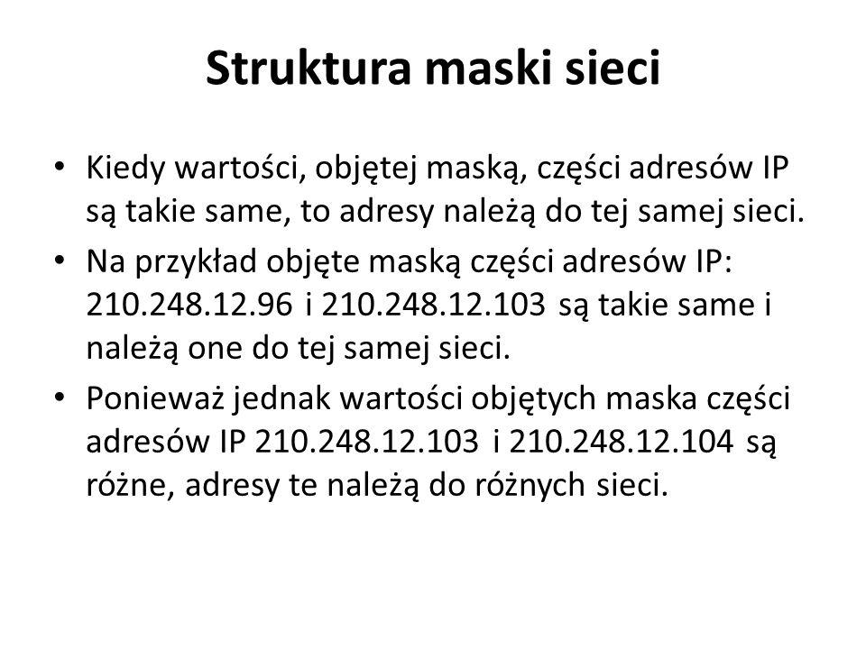 Struktura maski sieci Kiedy wartości, objętej maską, części adresów IP są takie same, to adresy należą do tej samej sieci.