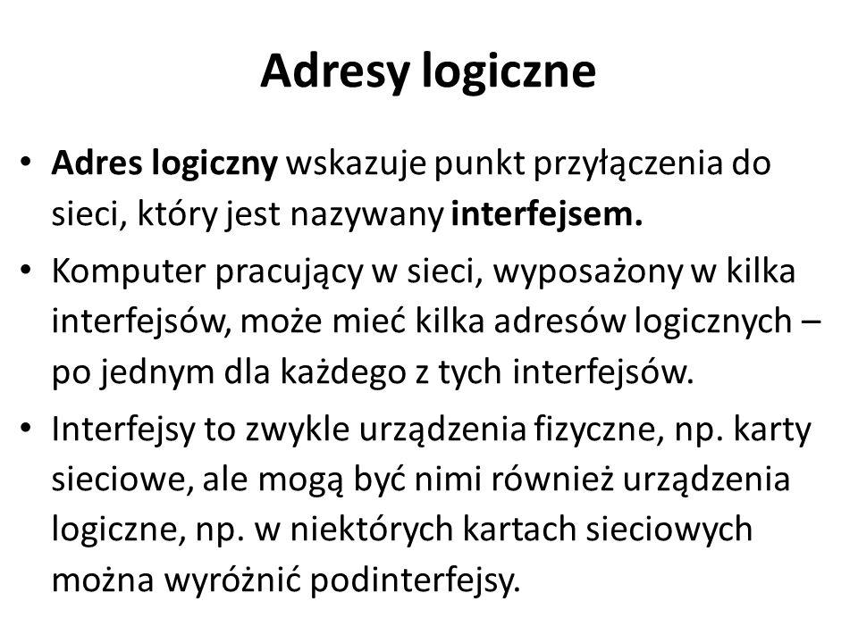 Adresy logiczne Adres logiczny wskazuje punkt przyłączenia do sieci, który jest nazywany interfejsem.