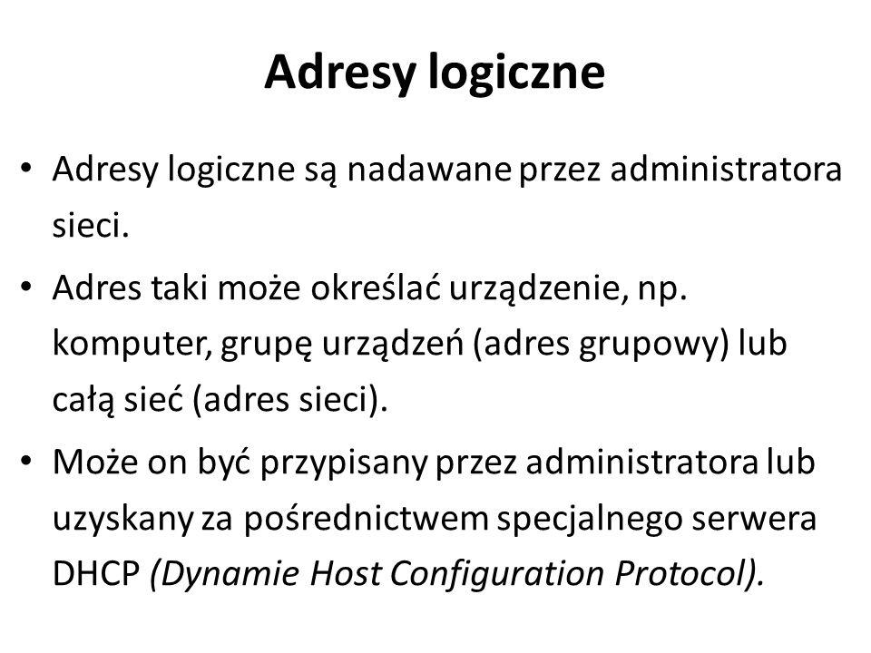 Adresy logiczne Adresy logiczne są nadawane przez administratora sieci.