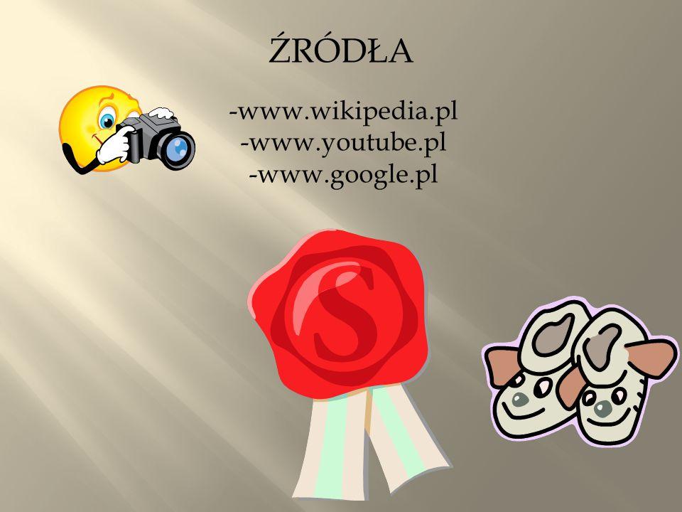 ŹRÓDŁA -www.wikipedia.pl -www.youtube.pl -www.google.pl