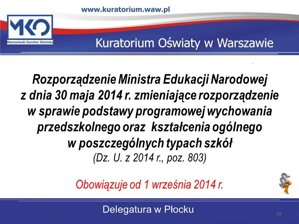 Rozporządzenie Ministra Edukacji Narodowej z dnia 30 maja 2014 r