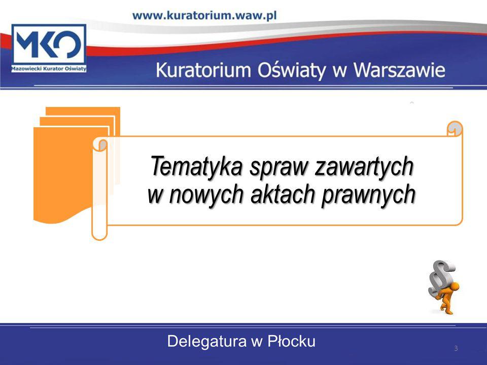Tematyka spraw zawartych w nowych aktach prawnych