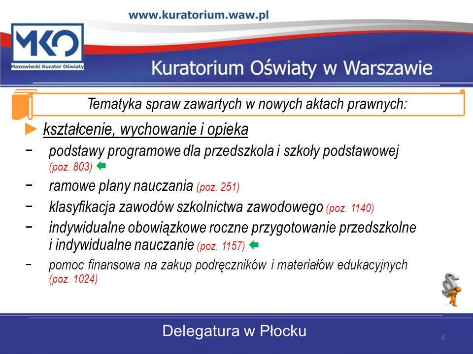 Tematyka spraw zawartych w nowych aktach prawnych: