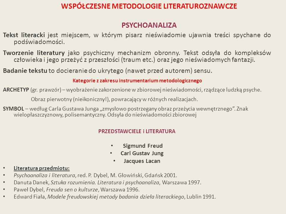 WSPÓŁCZESNE METODOLOGIE LITERATUROZNAWCZE PSYCHOANALIZA