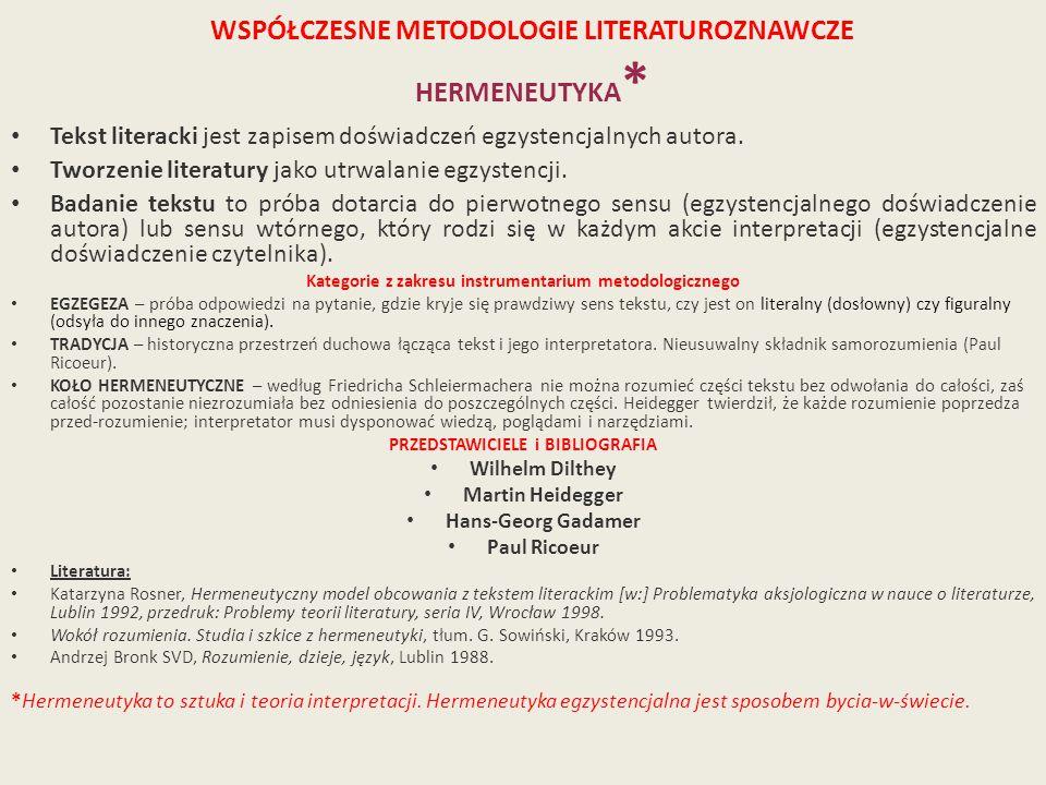 WSPÓŁCZESNE METODOLOGIE LITERATUROZNAWCZE HERMENEUTYKA*