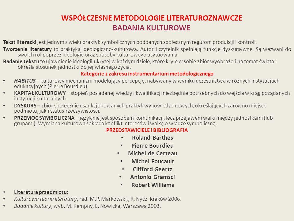 WSPÓŁCZESNE METODOLOGIE LITERATUROZNAWCZE BADANIA KULTUROWE