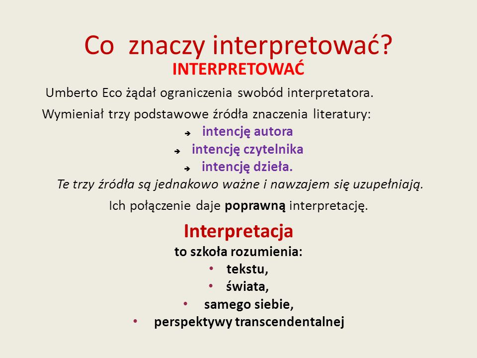 Co znaczy interpretować