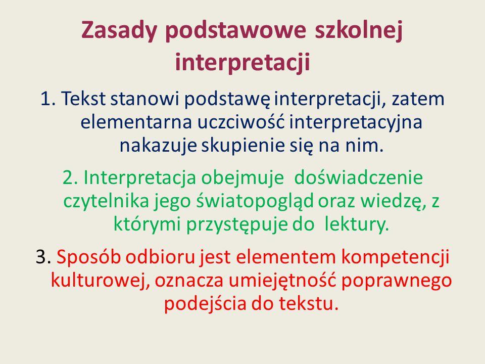 Zasady podstawowe szkolnej interpretacji