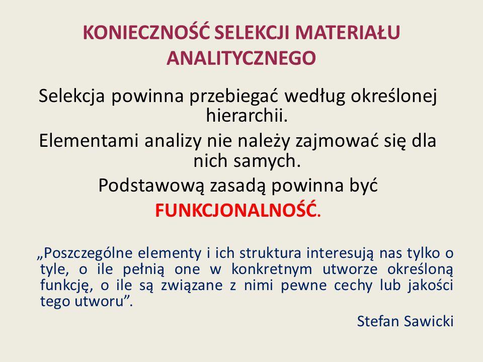 KONIECZNOŚĆ SELEKCJI materiału analitycznego