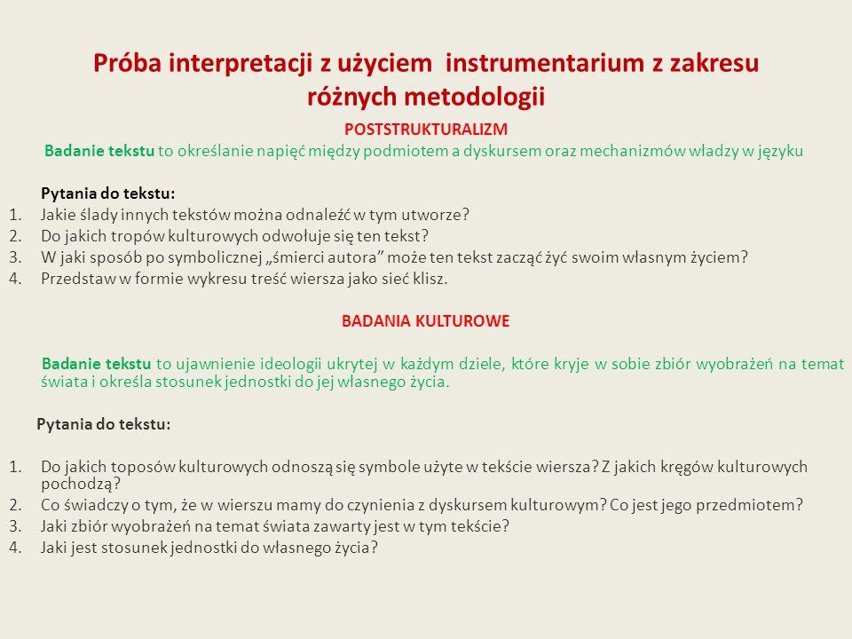Próba interpretacji z użyciem instrumentarium z zakresu różnych metodologii