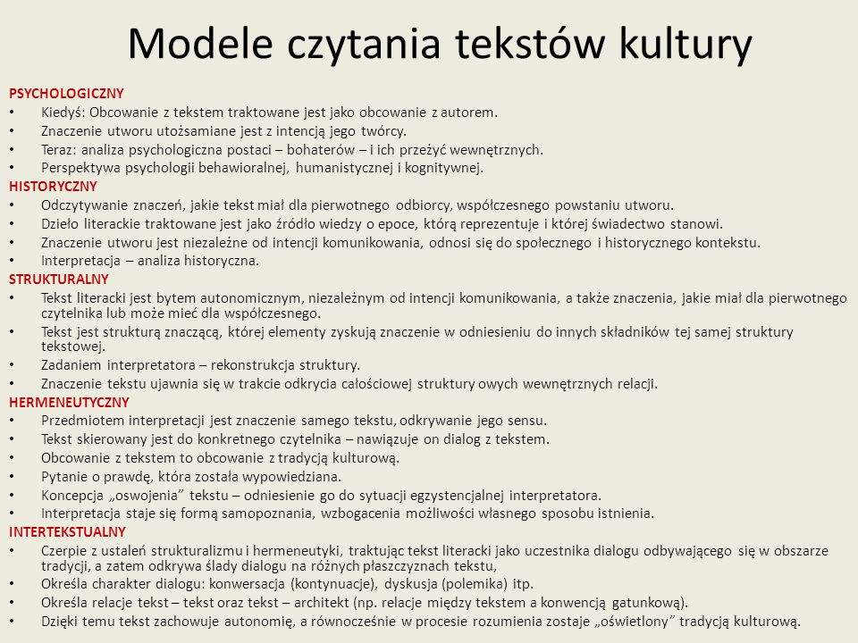 Modele czytania tekstów kultury