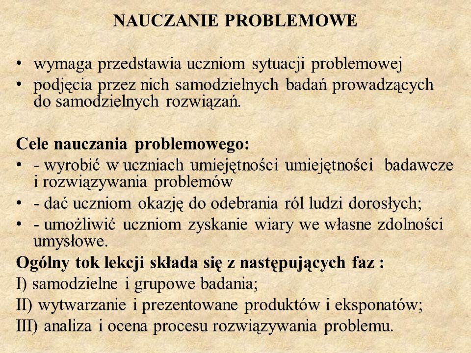 NAUCZANIE PROBLEMOWE wymaga przedstawia uczniom sytuacji problemowej.