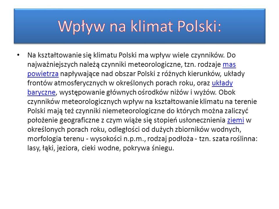 Wpływ na klimat Polski: