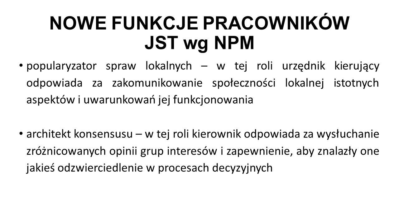 NOWE FUNKCJE PRACOWNIKÓW JST wg NPM