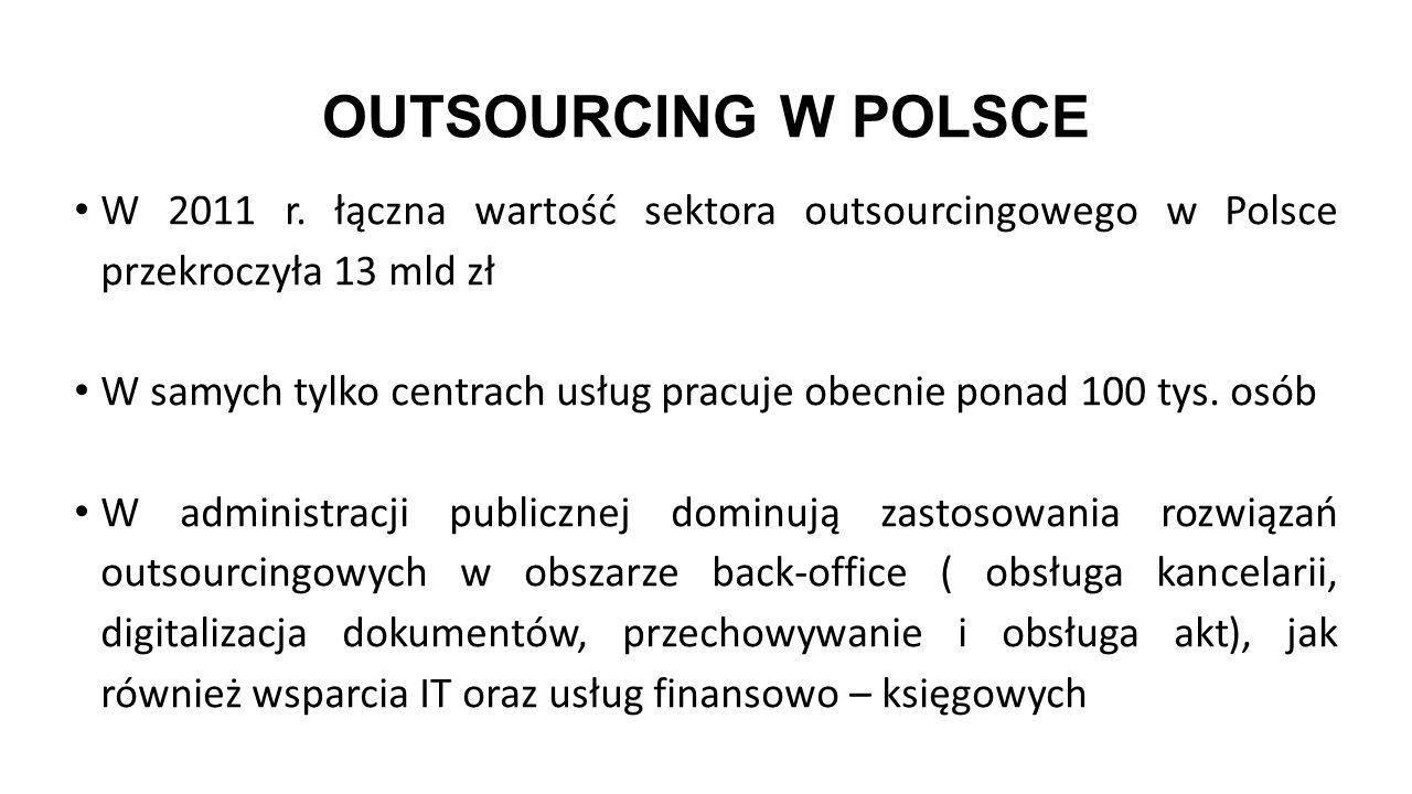OUTSOURCING W POLSCE W 2011 r. łączna wartość sektora outsourcingowego w Polsce przekroczyła 13 mld zł.