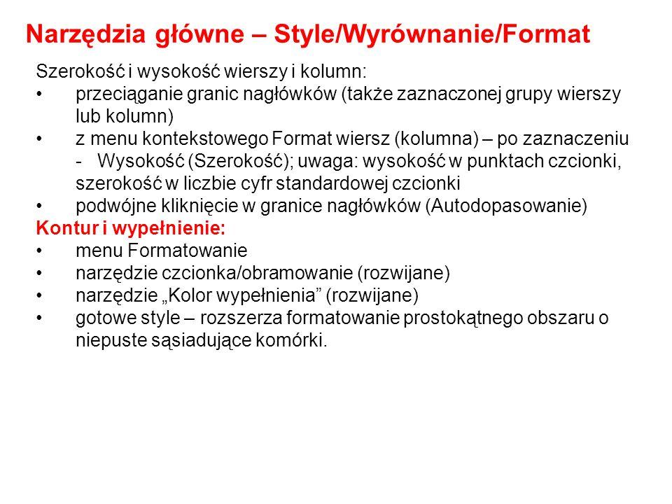 Narzędzia główne – Style/Wyrównanie/Format