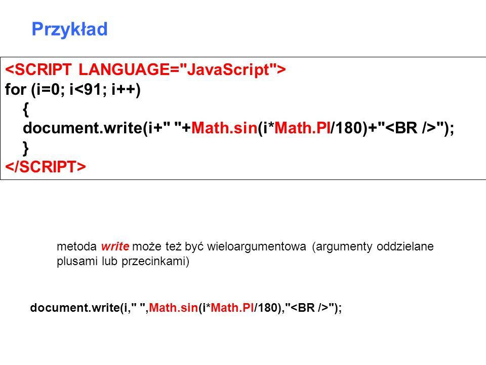 Przykład <SCRIPT LANGUAGE= JavaScript > for (i=0; i<91; i++)