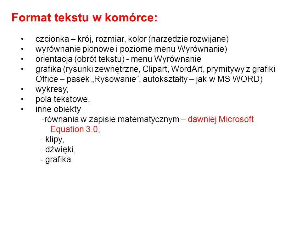 Format tekstu w komórce: