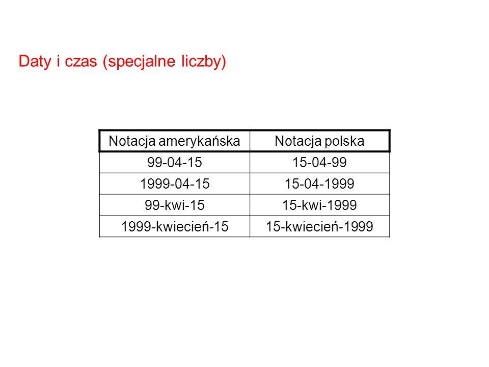 Daty i czas (specjalne liczby)