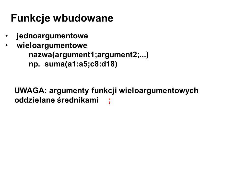 Funkcje wbudowane jednoargumentowe wieloargumentowe