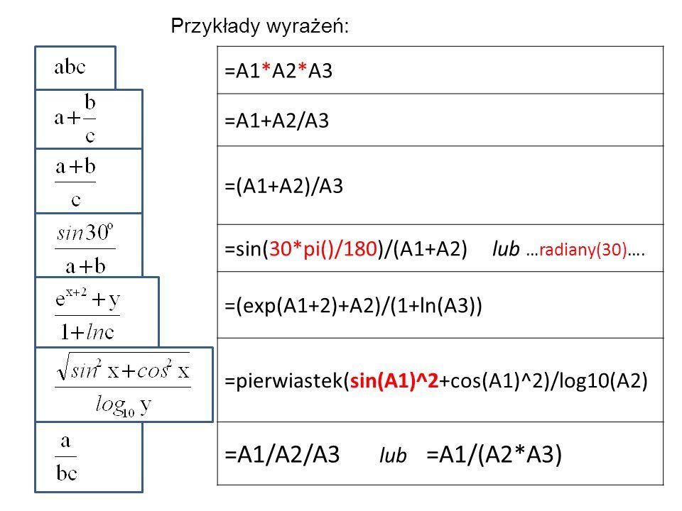 =A1/A2/A3 lub =A1/(A2*A3) =A1*A2*A3 =A1+A2/A3 =(A1+A2)/A3