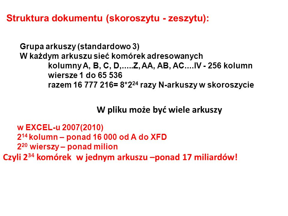 Struktura dokumentu (skoroszytu - zeszytu):