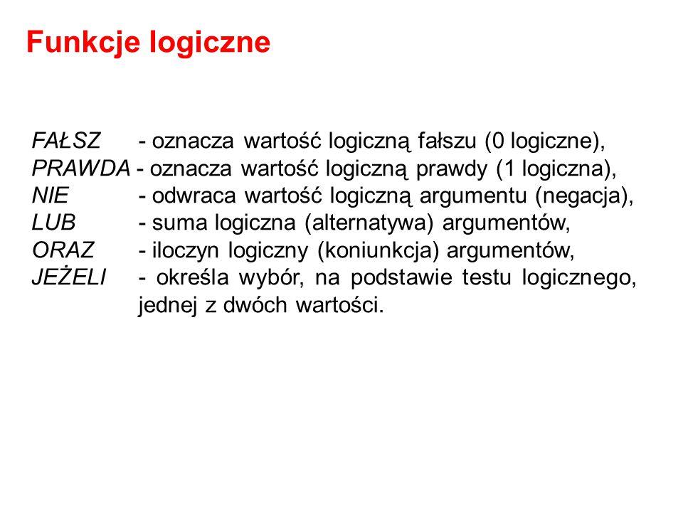 Funkcje logiczne FAŁSZ - oznacza wartość logiczną fałszu (0 logiczne),