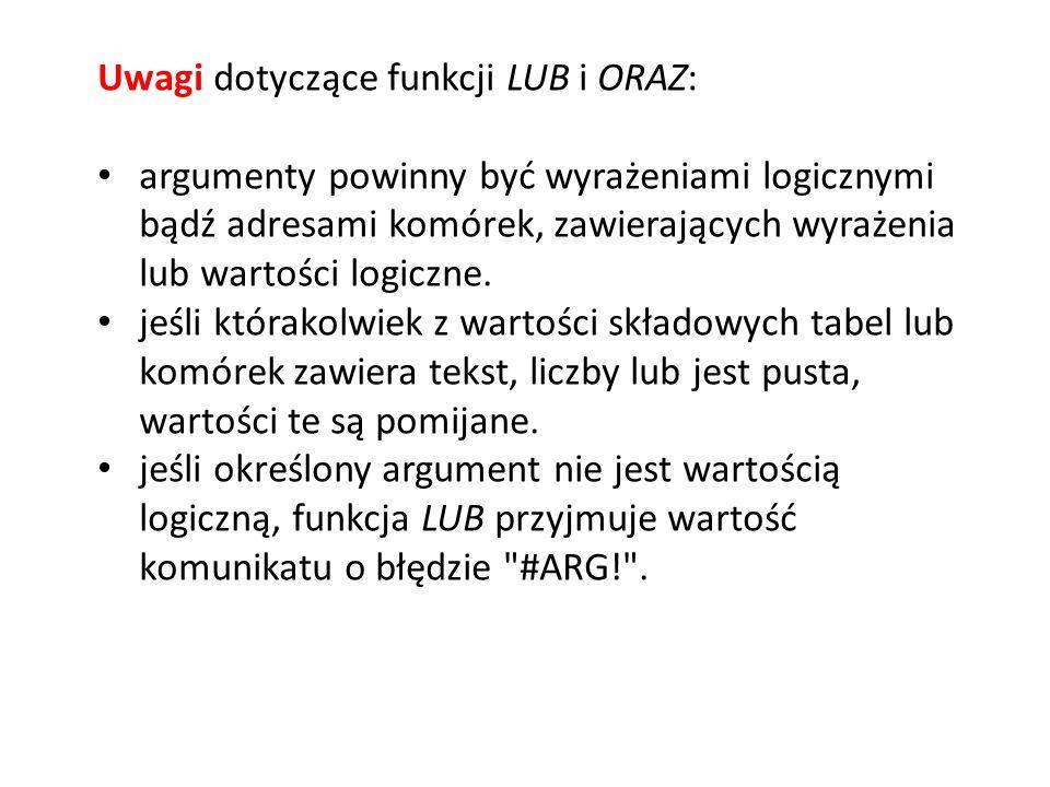 Uwagi dotyczące funkcji LUB i ORAZ: