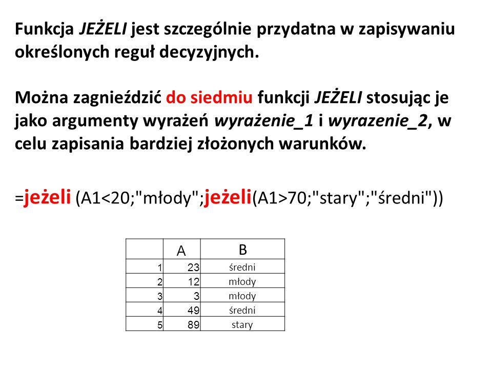 =jeżeli (A1<20; młody ;jeżeli(A1>70; stary ; średni ))