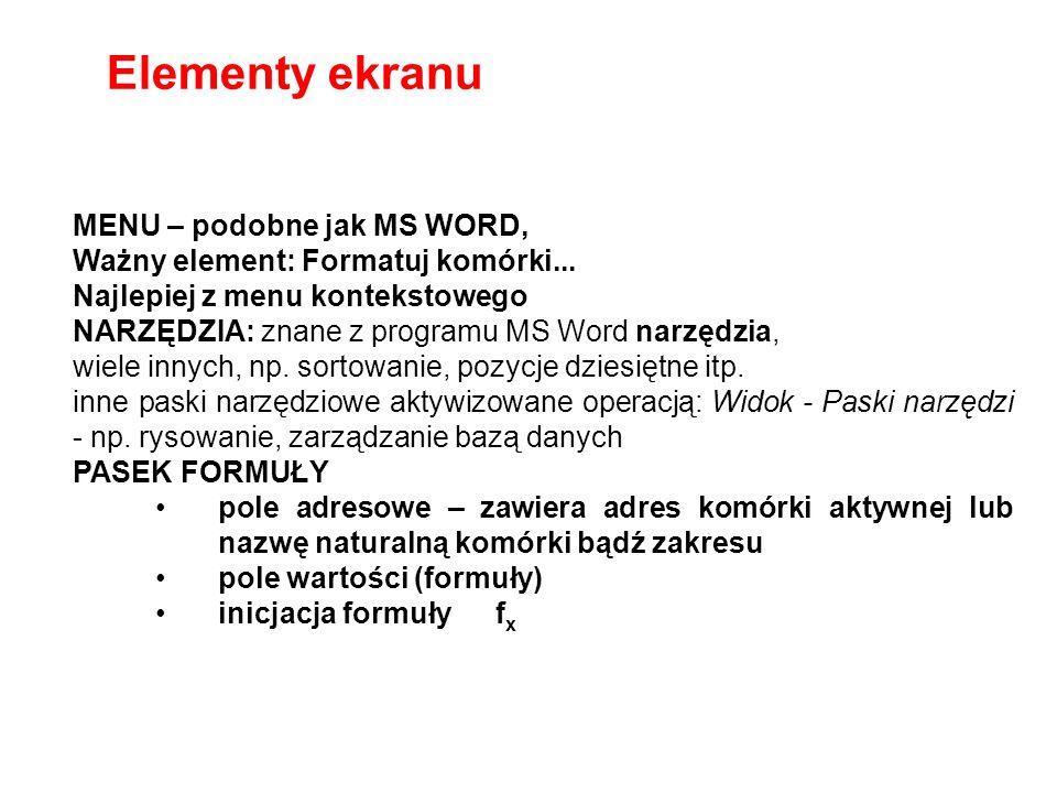 Elementy ekranu MENU – podobne jak MS WORD,