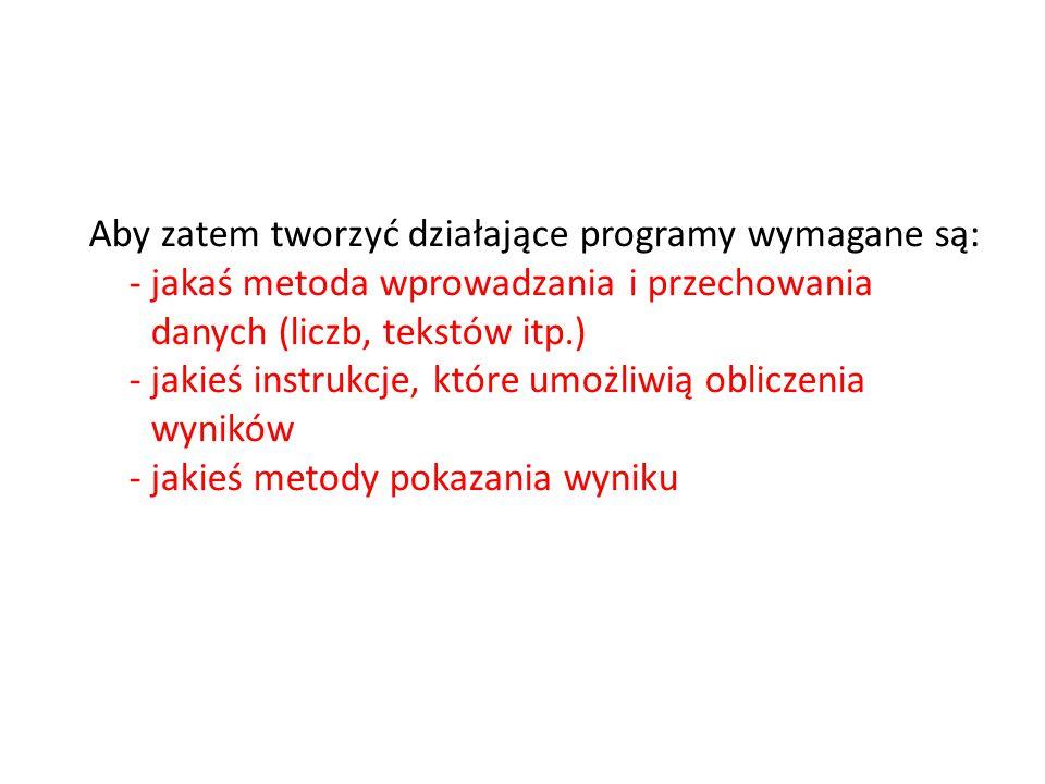 Aby zatem tworzyć działające programy wymagane są: