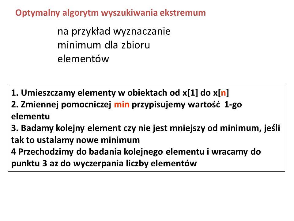 na przykład wyznaczanie minimum dla zbioru elementów