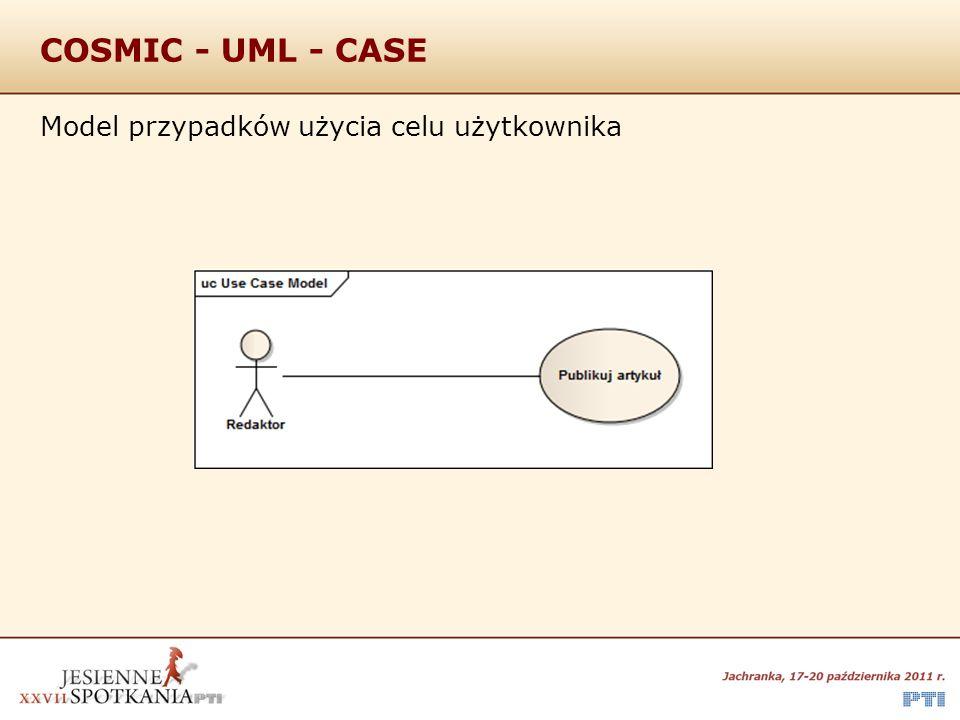 COSMIC - UML - CASE Model przypadków użycia celu użytkownika