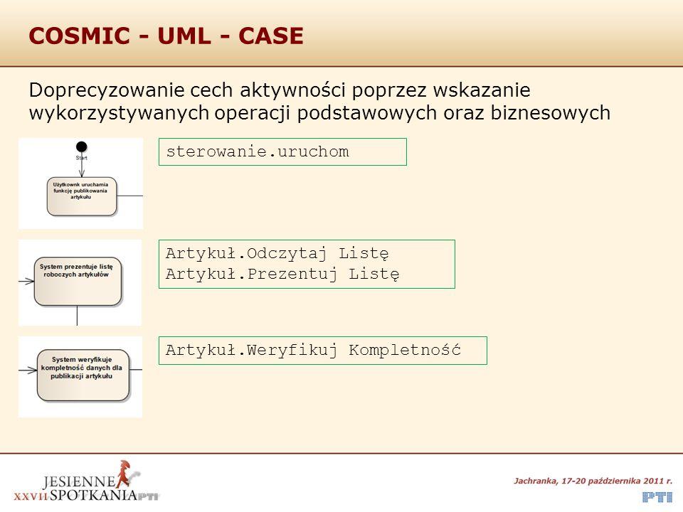 COSMIC - UML - CASE Doprecyzowanie cech aktywności poprzez wskazanie wykorzystywanych operacji podstawowych oraz biznesowych.