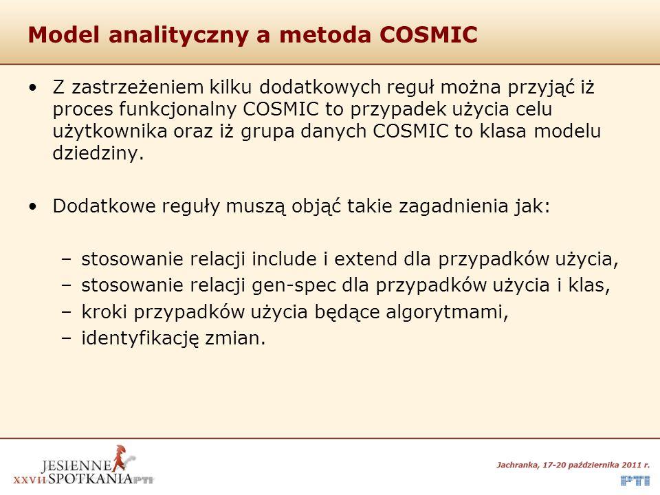 Model analityczny a metoda COSMIC