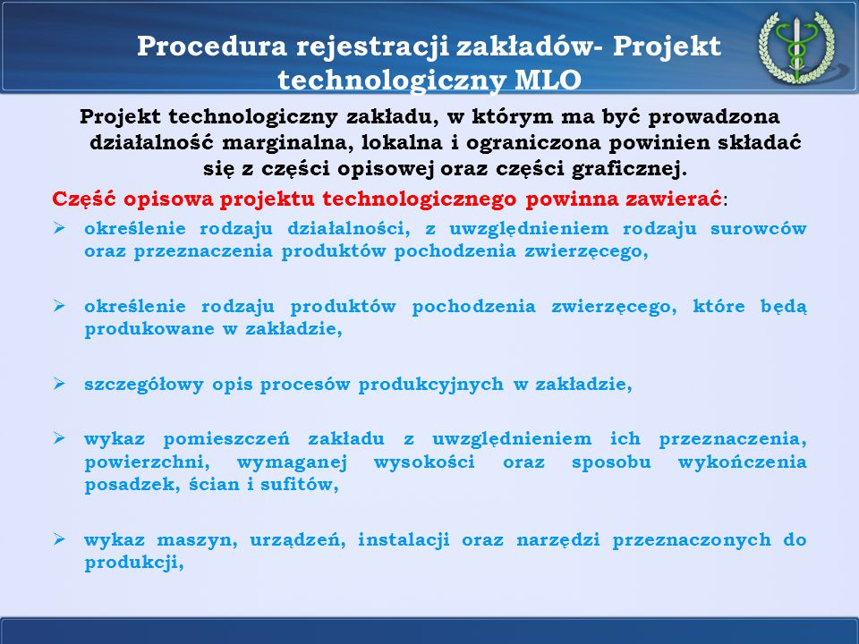 Procedura rejestracji zakładów- Projekt technologiczny MLO