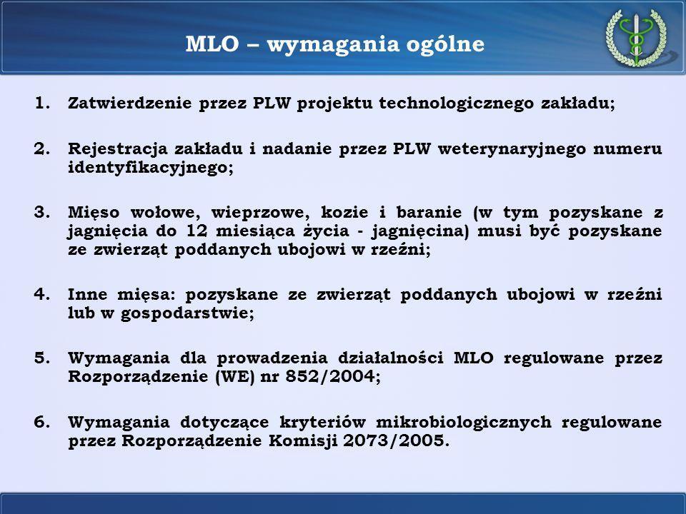 MLO – wymagania ogólne Zatwierdzenie przez PLW projektu technologicznego zakładu;