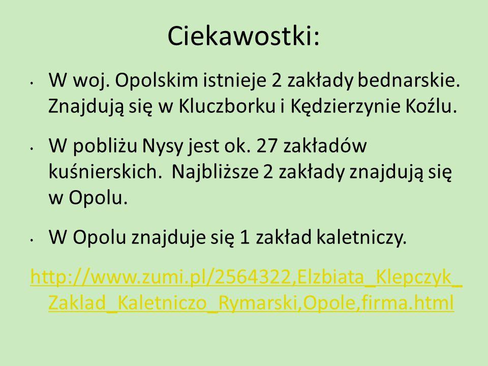 Ciekawostki: W woj. Opolskim istnieje 2 zakłady bednarskie. Znajdują się w Kluczborku i Kędzierzynie Koźlu.