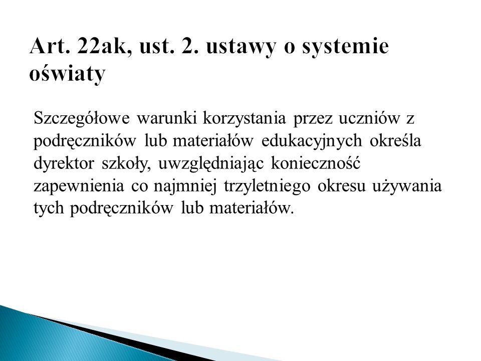 Art. 22ak, ust. 2. ustawy o systemie oświaty