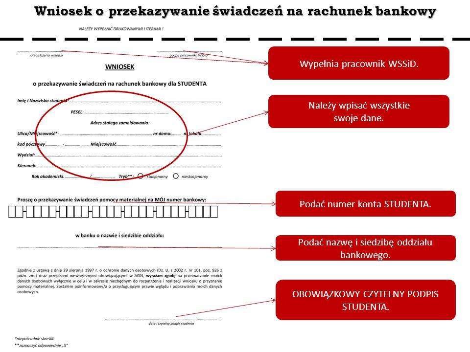 Wniosek o przekazywanie świadczeń na rachunek bankowy