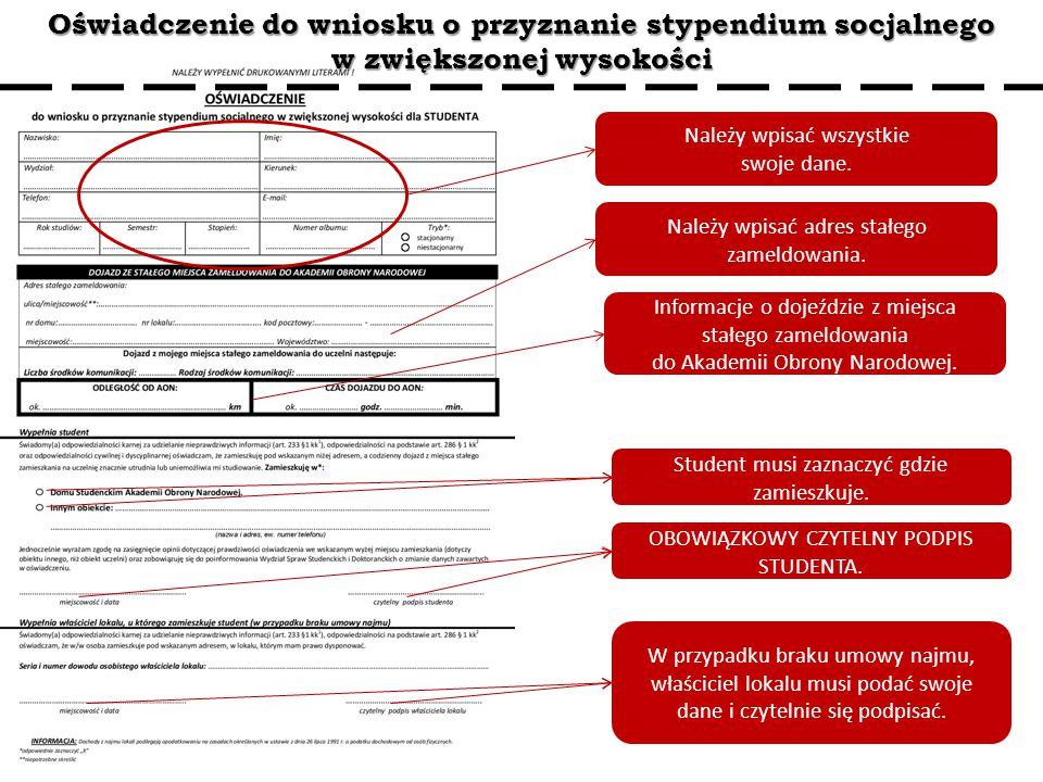 Oświadczenie do wniosku o przyznanie stypendium socjalnego w zwiększonej wysokości