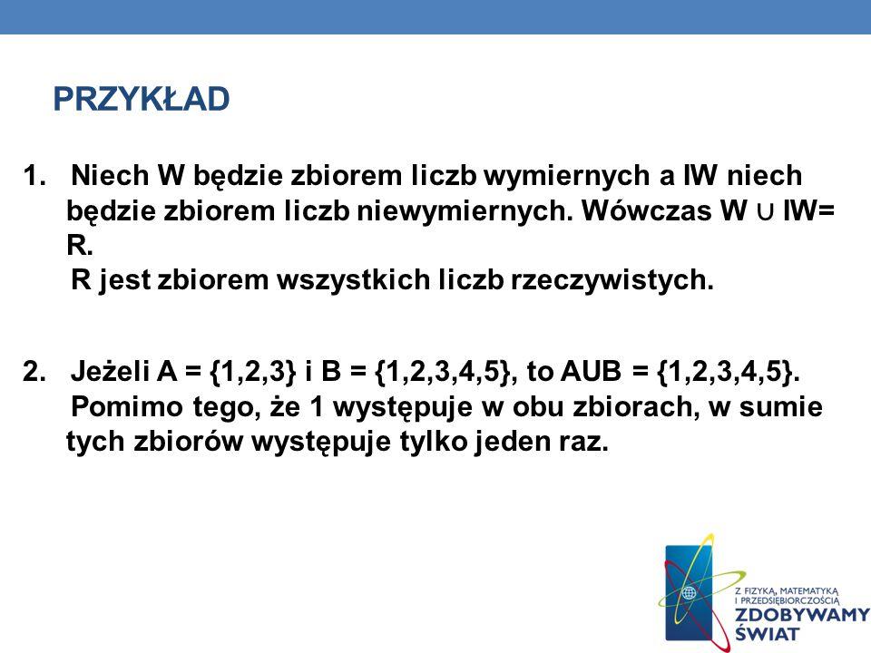 Przykład 1. Niech W będzie zbiorem liczb wymiernych a IW niech będzie zbiorem liczb niewymiernych. Wówczas W ∪ IW= R.