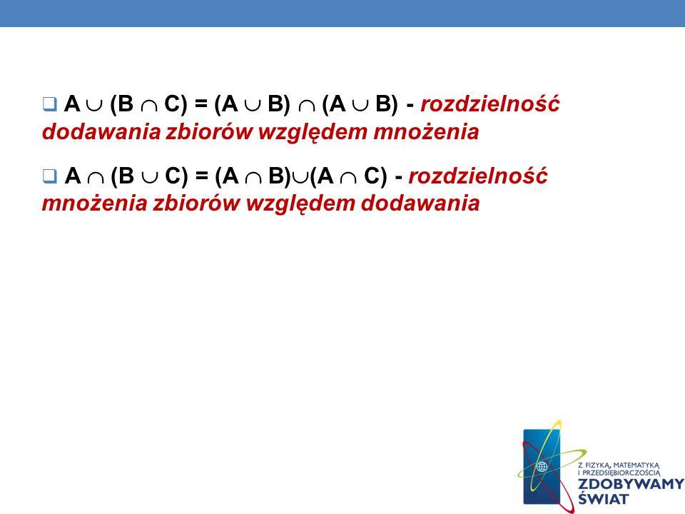 A  (B  C) = (A  B)  (A  B) - rozdzielność dodawania zbiorów względem mnożenia