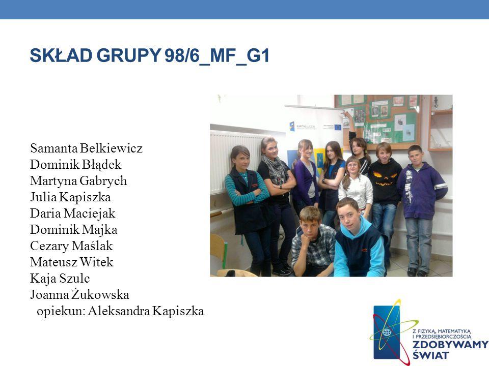 Skład grupy 98/6_MF_G1 Samanta Belkiewicz Dominik Błądek
