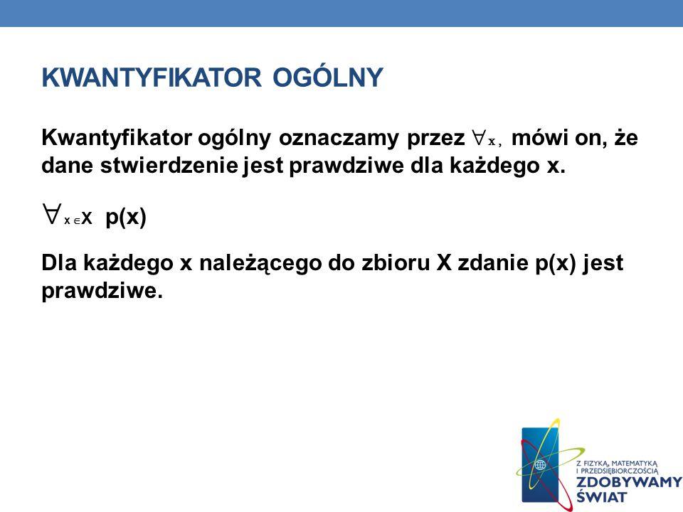 x X p(x) Kwantyfikator ogólny